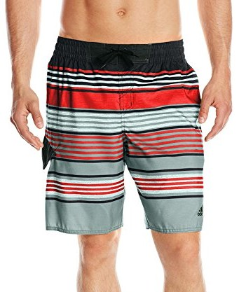 Adidas-Mens-Textured-Stripe-Volley-Swim-Trunk-black-red