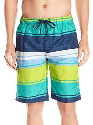 Kanu-Surf-Mens-Impact-Stripe-Swim-Trunk-navy-green