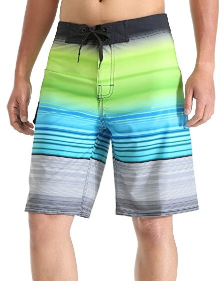 MILANKERR-Mens-Boardshort-Beach-Shorts-Swim-Trunks-with-inner-mesh-green-stripe