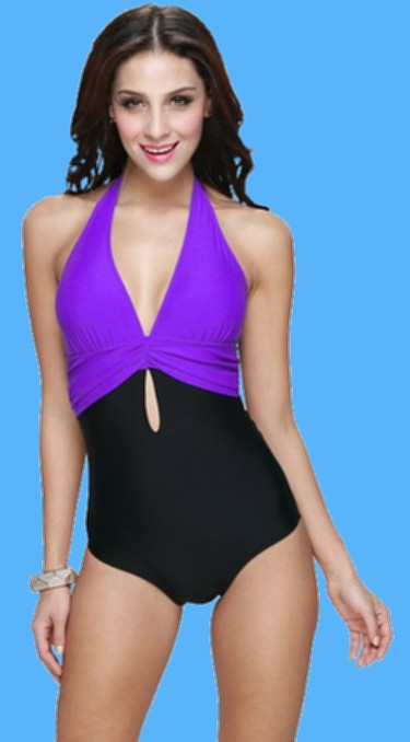 Newstep-Womens-One-Piece-Halter-Push-Up-Padding-Bathing-suit-purple-swimwear