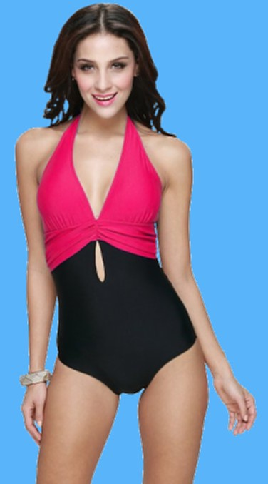 Newstep-Womens-One-Piece-Halter-Push-Up-Padding-Bathing-suit-red-swimwear