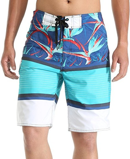 MILANKERR-Mens-Boardshort-Beach-Shorts-Swim-Trunks-with-inner-mesh-blue-flowers