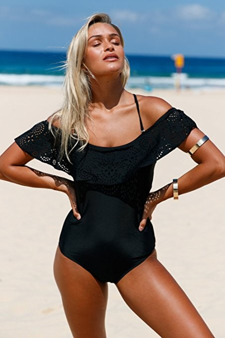 FARYSAYS-Womens-Stylish-Ruffle-Off-the-Shoulder-One-Piece-Swimsuit-black-swimwear